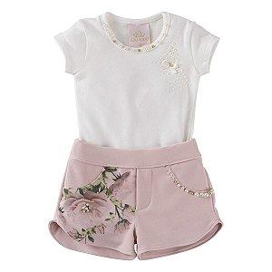 Conjunto Menina Blusa + Short Floral Tam 1 ao 4