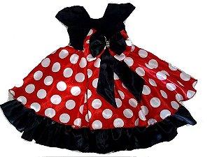 Vestido Infantil Minnie Vermelha Bolas brancas Tam 1 ao 8
