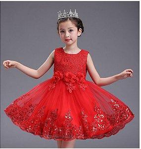 Vestido Infantil Lace Sequins Tam 2 ao 12