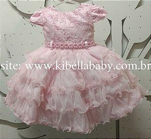 Vestido Infantil Rosa Tam 1 ao 3
