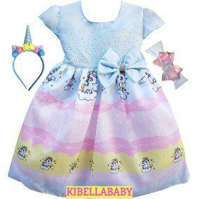 Vestido Infantil Unicórnio com tiara e faixa de cortesia Tam 1 ao 4