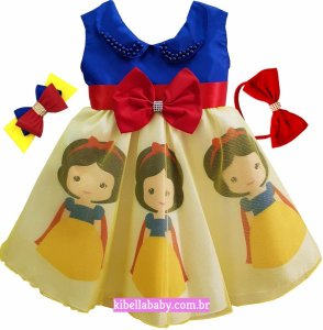 Vestido Infantil Branca de Neve com tiara de cortesia Tam 1 ao 4