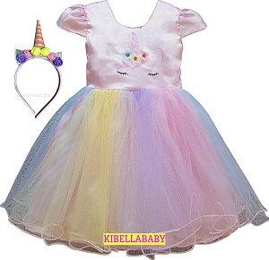 Vestido Infantil Unicórnio Arco Iris Luxo Tam 1 ao 12