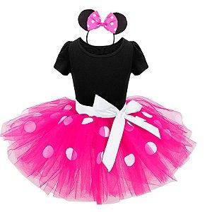 Fantasia Infantil da Minnie Rosa com tiara Tam 1 ao 6