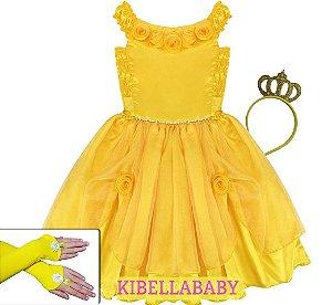 Vestido Infantil de Festa Bela e a Fera Tam 2 ao 12