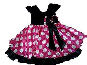 Vestido Infantil Minnie Rosa Tam 1 ao 8