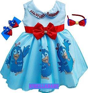 Vestido Infantil Galinha Pintadinha Tam 1 ao 4 com tiara de cortesia