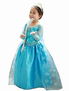 Fantasia Infantil Princesa Elsa com coroa de cortesia Tam 3 ao 6