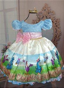 Vestido de Festa Galinha Pintadinha com lacinho na cintura