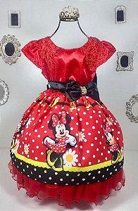 Vestido  Minnie Vermelho de Bolinhas Brancas e desenho da minie