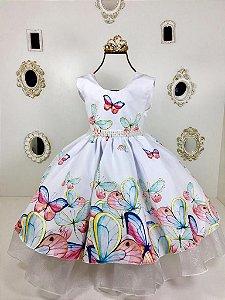 Vestido branco  Borboleta tema Jardim