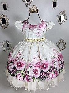 Vestido Floral Bege