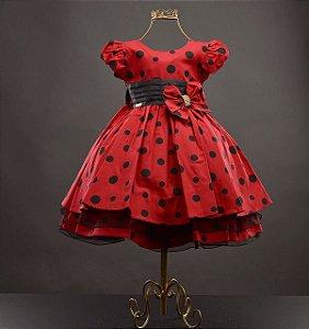 Vestido Minnie Vermelha Ou Joaninha Bolinhas Pretas Kibellababy