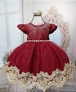 Vestido infantil Realeza Marsala com renda dourada 2010