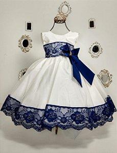 Vestido Off e Azul 1753