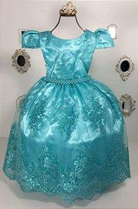 Vestido Realeza  Verde  Ariel  e Tinkerbell 2186