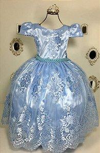 Vestido Realeza Azul claro com renda