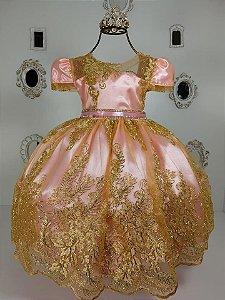 Vestido Renda Dourada 2192
