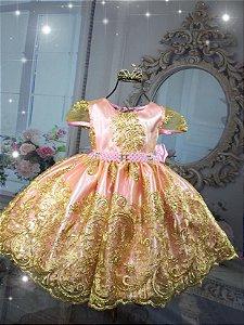 Vestido Realeza Rosa 1829