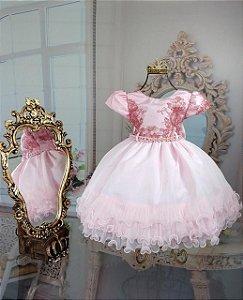 Vestido Rosa com renda de luxo 1802