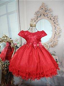 Vestido infantil Vermelho de luxo 1801