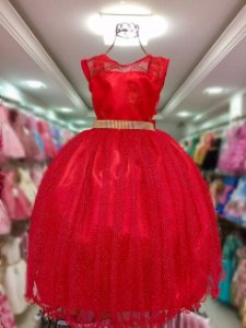 Vestido Vermelho infantil com glitter 2109