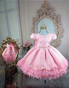 Vestido Renda Rosa de luxo 1738