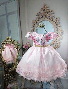 Vestido Rosa com Flores 1798