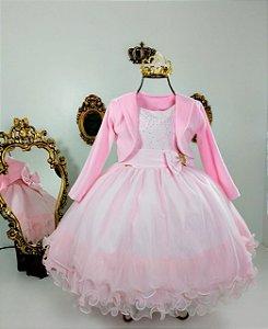 Vestido Infantil Rosa com casaco