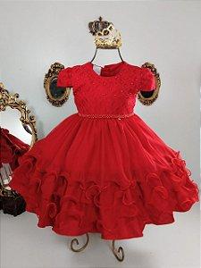 Vestido Infantil Vermelho de luxo 2466