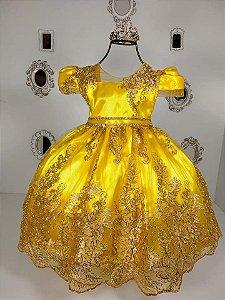 Vestido Realeza infantil amarelo de luxo 2192