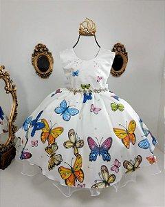 Vestido infantil Jardim encantado com borboletas