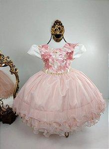 Vestido infantil  Luxuoso Nude  Com rosé 1809