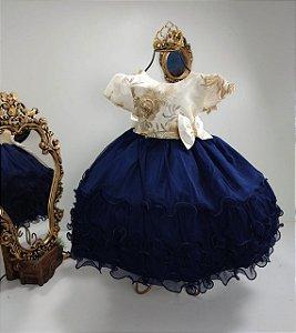 Vestido Infantil Saia marinho e off white 1806