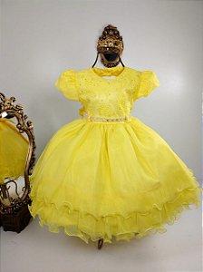Vestido Infantil Guipir Amarelo 1848