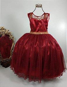 Vestido Infantil Marsala 2109