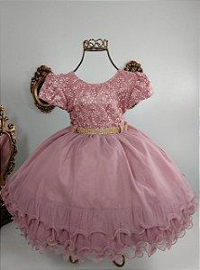 Vestido infantil Rosé com margaridas