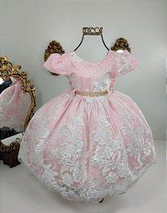 Vestido Infantil Realeza Rosé 1817