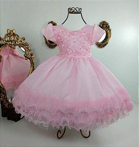 Vestido Infantil Rosa Guipir 1846