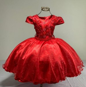 Vestido infantil vermelho de luxo