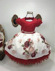 Vestido  vermelho com saia estampada 1862