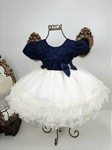 Vestido azul  marinho e nude