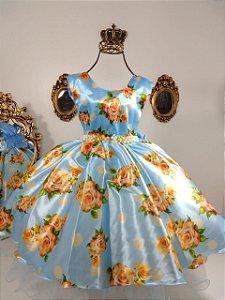 Vestido infantil Azul Floral 1422