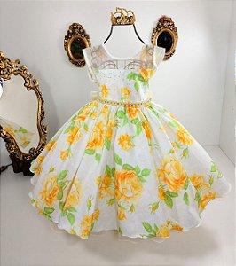 Vestido infantil amarelo floral 1421