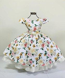 Vestido floral bege  jardim casamento
