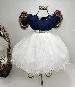 Vestido azul marinho com branco