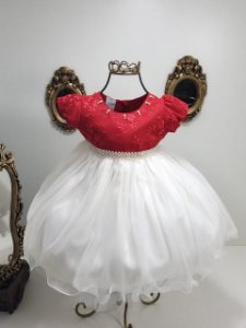 Vestido vermelho com branco 2378