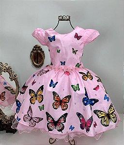 Vestido Infantil Borboletas  rosas 2083