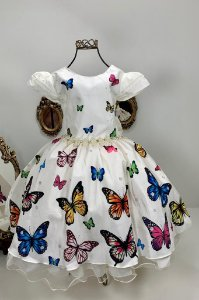 Vestido Infantil Borboletas  Bege 2083