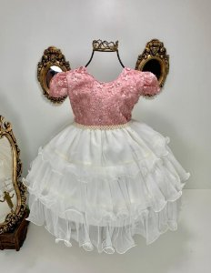 Vestido infantil rosé com creme